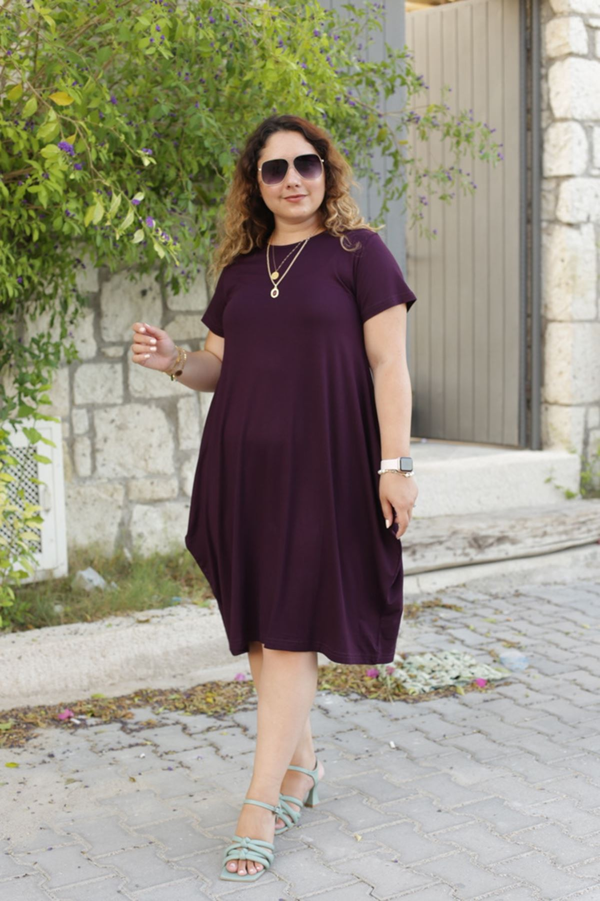 RENKTE BALON YARIM KOLLU MOR ELBİSE