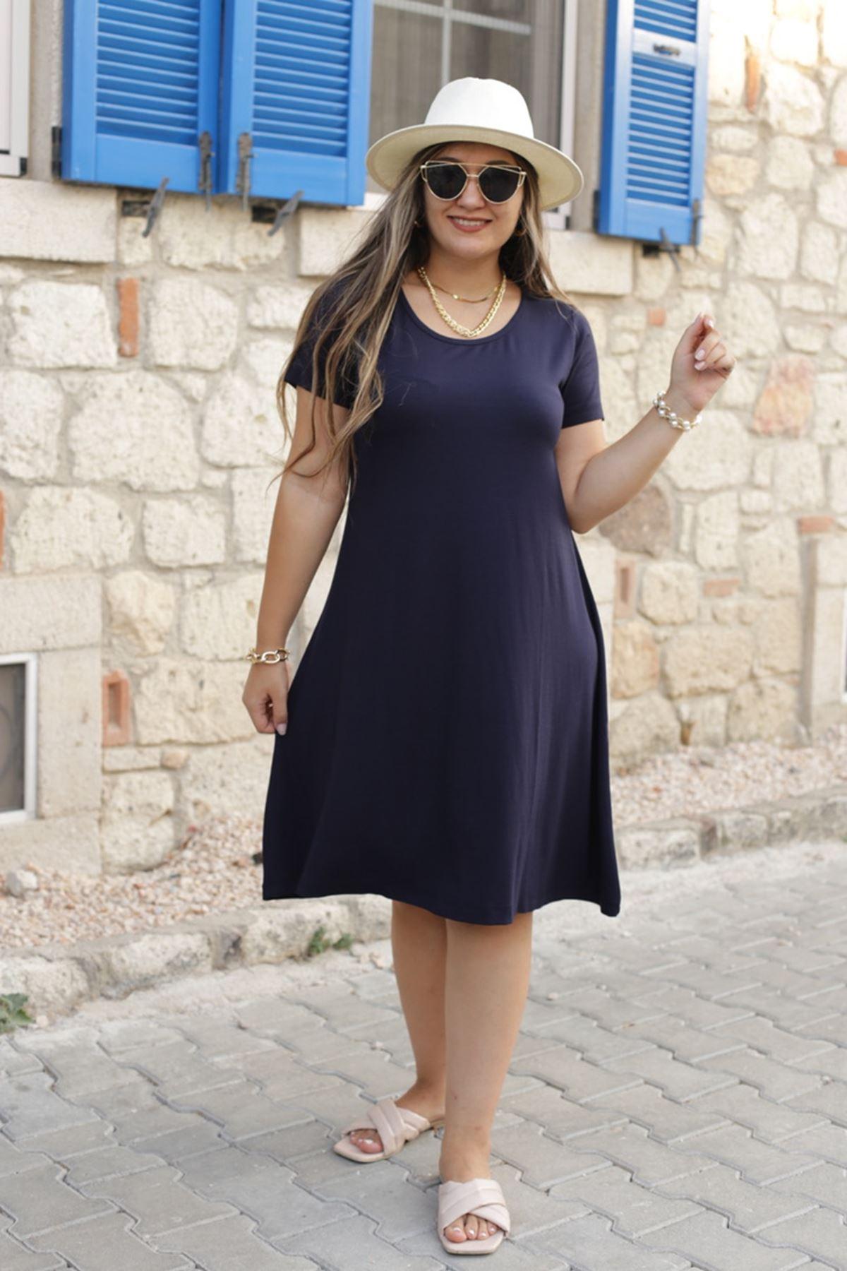 RENKTE KISA KOLLU ESNEK LACİVERT ELBİSE